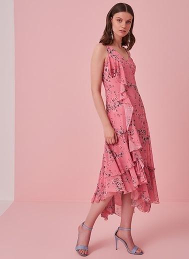 morhipo x dcey Düğme Detaylı Çiçek Desenli Elbise Pembe
